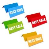 Fyra etiketter för bästa försäljning för färg rumsliga Royaltyfria Foton