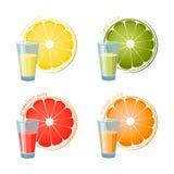 Fyra exponeringsglas av fruktsaft och en skiva som isoleras på vit backdround Royaltyfri Illustrationer