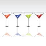 Fyra exponeringsglas för drink med is Arkivfoto
