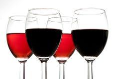 fyra exponeringsglas wine Arkivbilder