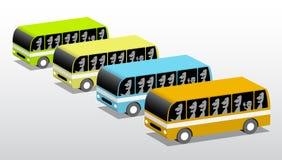 Fyra färgade bussar Royaltyfri Foto