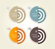 Fyra färgade pappers- cirklar med förlägger för din egna text. Arkivfoto
