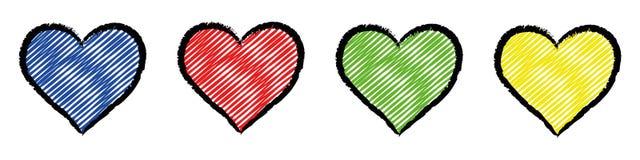 Fyra färgade stiliserade hjärtor Arkivbild