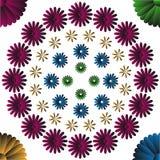 Fyra färgar blommor Arkivbild