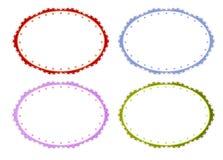 Fyra färger av cirkelramar i tappningstil royaltyfri illustrationer