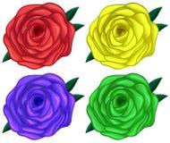 Fyra färgrika rosor Arkivbild