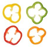 Fyra färgrika skivor av spansk peppar Royaltyfri Foto