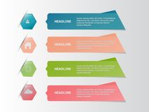 Fyra färgrikt infographic baner, affärsidé Arkivfoton