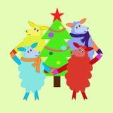 Fyra får dansar i en cirkel runt om trädet Royaltyfri Bild
