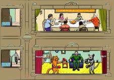 Fyra fönster av ett hus med liv för folk` s vektor illustrationer