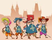 Fyra för teckensoldater för tecknad film roliga musketörer royaltyfri illustrationer