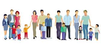 Fyra familjer royaltyfri fotografi