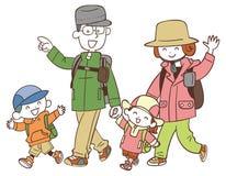 Fyra familjer som fotvandrar stock illustrationer