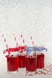 Fyra festliga exponeringsglas med röd fruktsaft och sugrör Arkivfoto