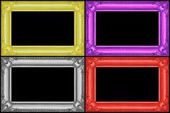 fyra flerfärgade träramar som isoleras på svart Arkivfoton