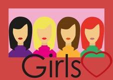 fyra flickor Arkivfoton