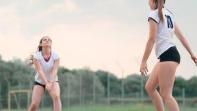 Fyra flickor som spelar volleyboll p? stranden Strandvolleyboll som ?r netto, kvinnor i bikinier Plan tecknad filmillustration st stock video