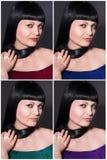 Fyra foto av brunetten Fotografering för Bildbyråer