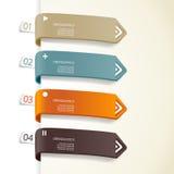 Fyra färgade pappers- band med förlägger för din egna text Arkivbilder