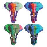 Fyra färgrika elefanter Royaltyfria Bilder