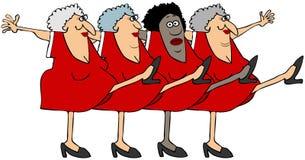 Fyra gamla kvinnor i en körlinje Royaltyfri Foto