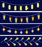 Fyra girlander av ljusuppsättning Arkivbilder
