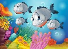 Fyra gråa fiskar under havet Royaltyfri Fotografi
