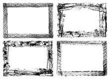 fyra grungeramar som isoleras på vit Arkivbild