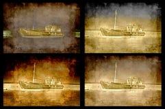 fyra grungy ships Royaltyfri Bild