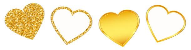 Fyra guld- hjärtor som mousserar, och glänsande uppsättning stock illustrationer