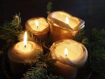 Fyra guld- stearinljus och sörjer trädfilialer som bildar en julgarnering Royaltyfria Bilder