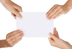 fyra händer Fotografering för Bildbyråer