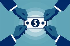 Fyra händer som når till det kontanta för dollartecken för pappers- pengar symbolet Affärs- och rikedombegrepp vektor illustrationer