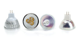 Fyra halogen för lampor MR16 mot ljusdiod Royaltyfria Bilder