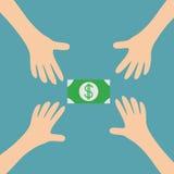 Fyra handarmar som når till symbolet för tecken för dollar för gröna pengar för kassapapper Ta handen Slut upp kroppsdelen finans Arkivbilder