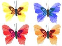 Fyra handgjorda färgrika buterflies Arkivbild