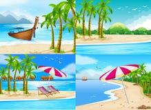 Fyra havplatser med kokospalmer vektor illustrationer