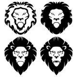 Fyra head symboler för lejon Royaltyfri Fotografi