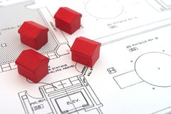 fyra hus Arkivfoto