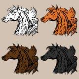 Fyra huvud av härliga hästar stock illustrationer
