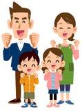 Fyra i familj det verkar för att vara njutbar stock illustrationer