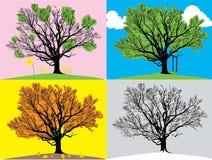 fyra illustrationsäsonger Arkivbilder