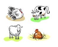Fyra inhemska husdjur Arkivbilder