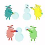 Fyra isolerade färgrika får som spelar snögubben royaltyfri illustrationer