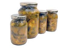 Fyra isolerade krus av hemlagad pickels Arkivfoto