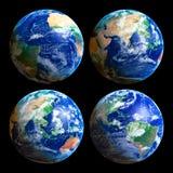fyra jordklot royaltyfria bilder