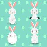 Fyra kaniner på blåa ägg bakgrund, vektorillustration Arkivbilder
