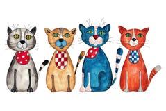 Fyra katter royaltyfri illustrationer
