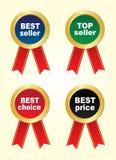 Fyra klistermärkear - bästsäljare, bästa säljare, bästa val, bästa pris Royaltyfri Bild