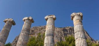 Fyra kolonner i templet Athena Royaltyfri Foto